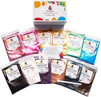 RESIN4DECOR Pigmentos 12x10g Colores Natural Mica Tintes para teñir Resina Epoxi Jabones Slime Pintura 120g