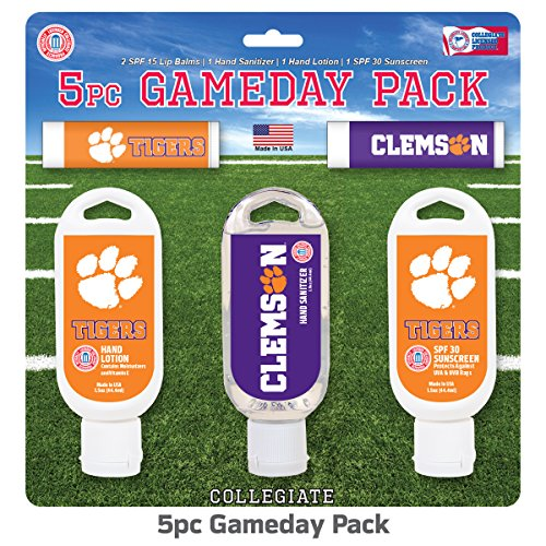 - Worthy Promo NCAA Clemson Tigers 5-Piece Game Day Pack with 2 Lip Balms, 1 Hand Lotion, 1 Hand Sanitizer, 1 SPF 30 Sport Sunscreen
