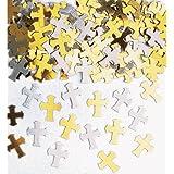 Streukonfetti: Kreuze, silber und gold, Metallfolie, 14 g