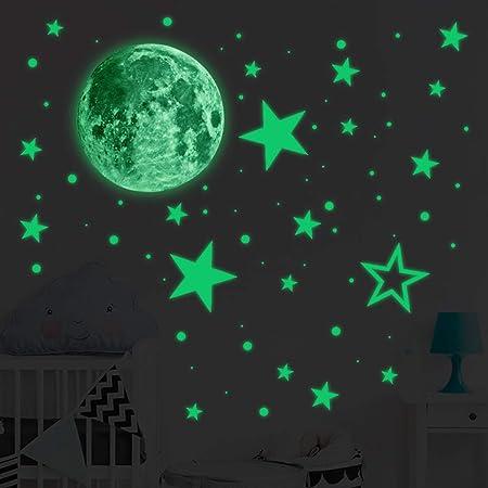 Lot Glow In Dark Stickers Luminous Wall Decal Moon Star Kid Baby Room DIY Decor