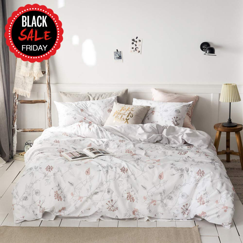 MICBRIDAL Floral Duvet Cover Queen, Ultra-Soft Cotton Bedding Set, Pink Floral Tree Branches Leaves Pattern Printed on White, Modern Botanical Floral Comforter Cover with Zipper Closure 4 Corner Ties