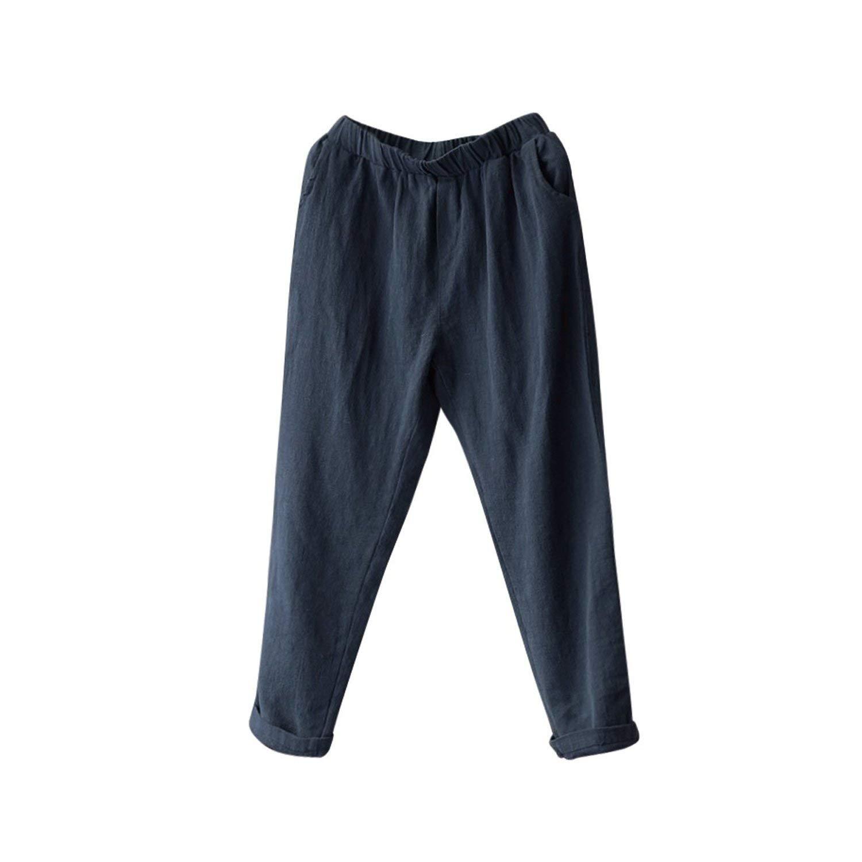 Women Men Linen Cotton Harem Pants Baggy Loose Fit Trousers Casual High Waist