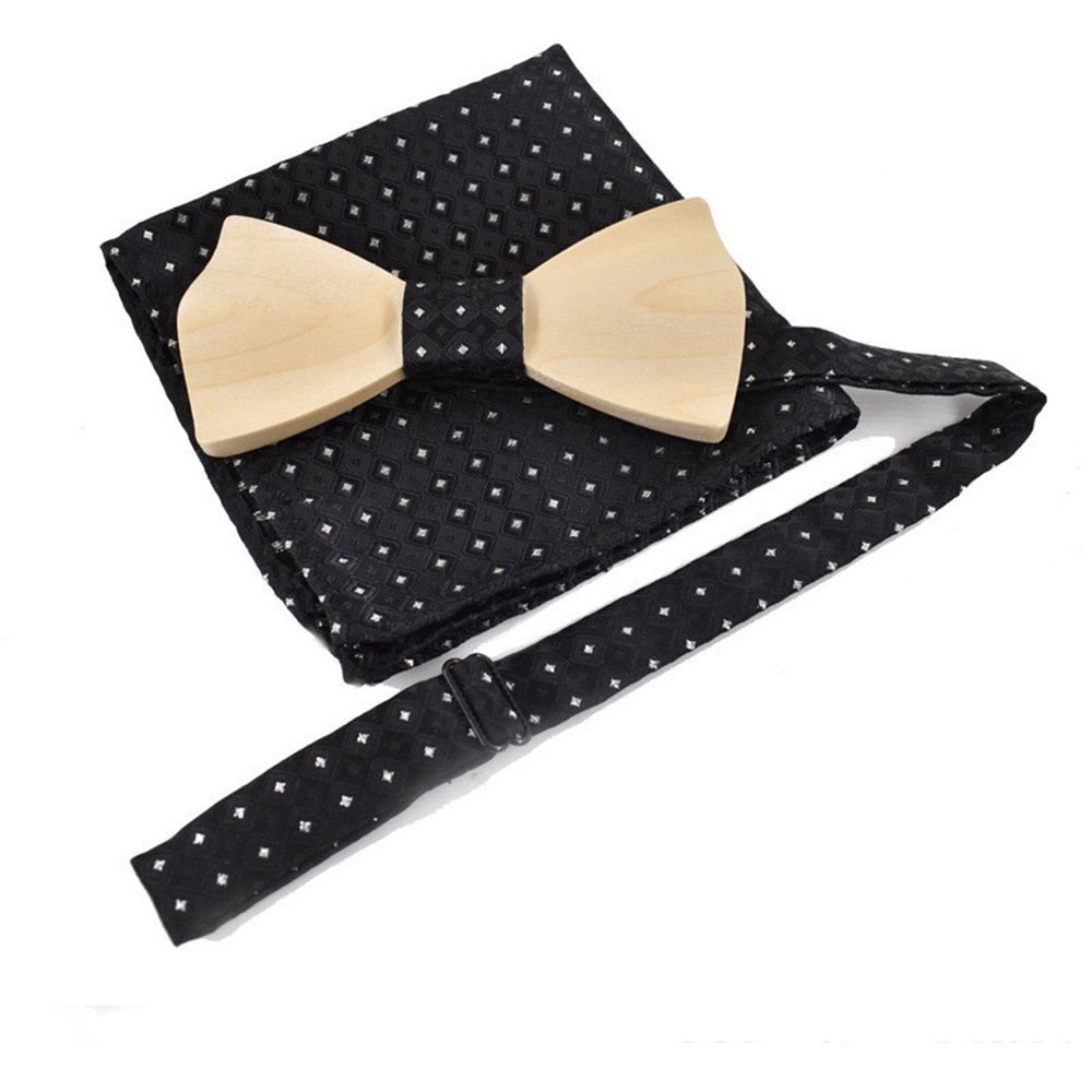 Mens Wooden Bowtie w// Matching Pocket Square with Wood Gift Box
