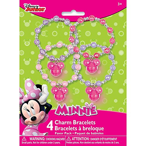Minnie Mouse Charm Bracelet Party Favors, 4ct