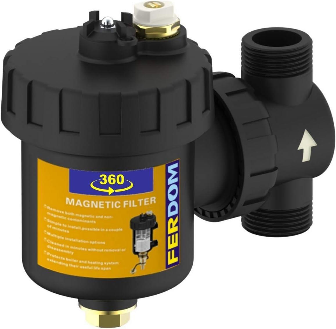 FERDOM FD360 Filtro Magnético Sistemas Calefacción, solar, HVAC. Con separador de suciedad no magnético- tipo bola. Para tubería vertical y horizontal. Imán 9000 Gs. Tamaño 1