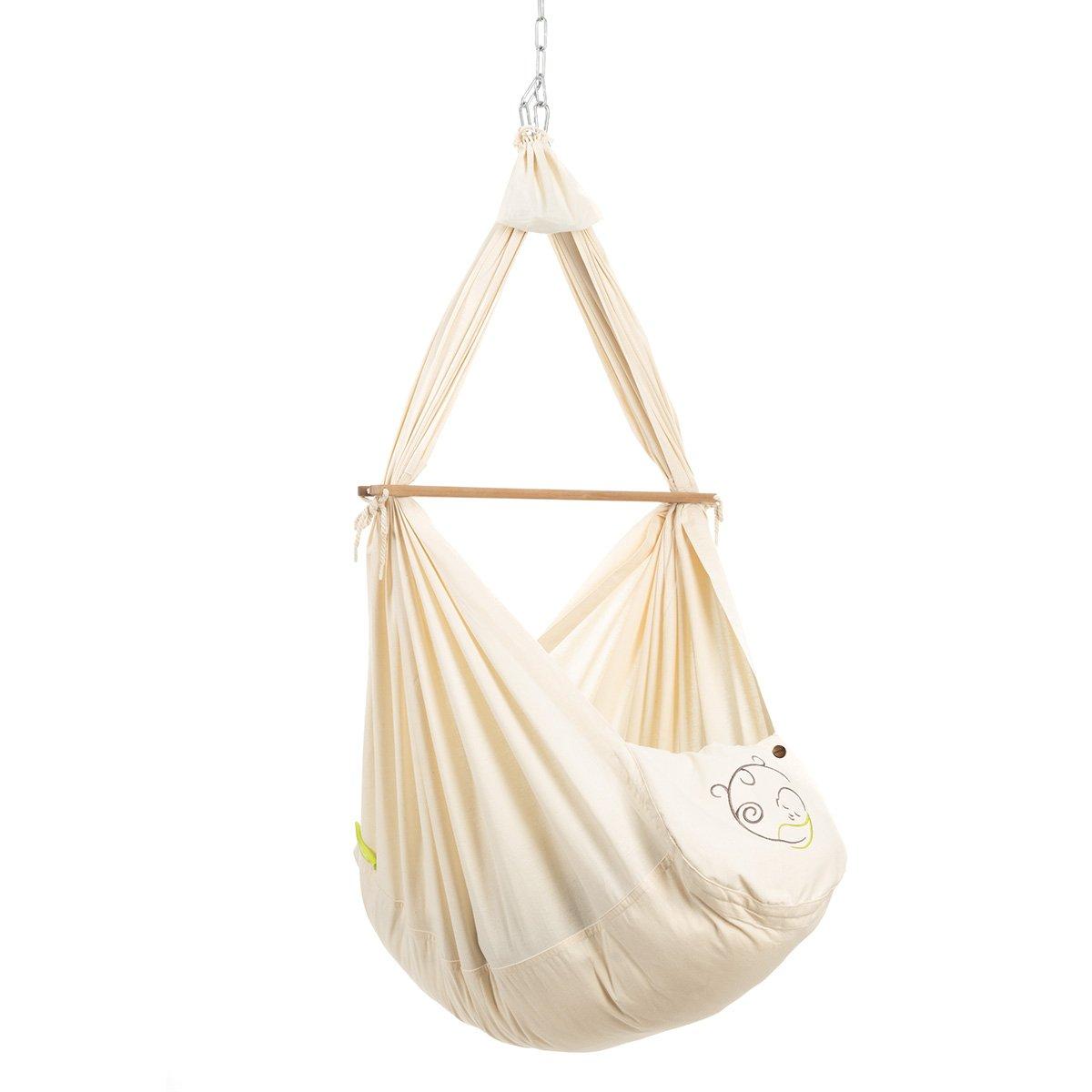 NONOMO® Federwiegen-Set Baby Classic mit Kunstfaser-Matratze und Deckenbefestigung - natur