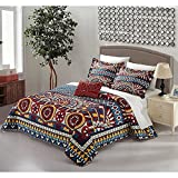 4pc Blue Yellow Gold Red African Themed Quilt Queen Set, Diamond Aztec Artistic, Microfiber, Hippie Pattern Bedding Bohemian Hippy Tribal Native American Southwest Paisley Motif