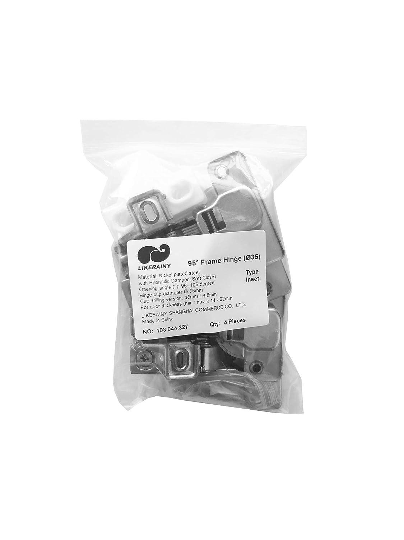 LIKERAINY 95 Grado Semi-Solapado 35mm Mini Bisagra del Marco con Amortiguaci/ón para Puerta Bisagras Corta para Puertas de Empotrado Mueble Armario Juego de 4