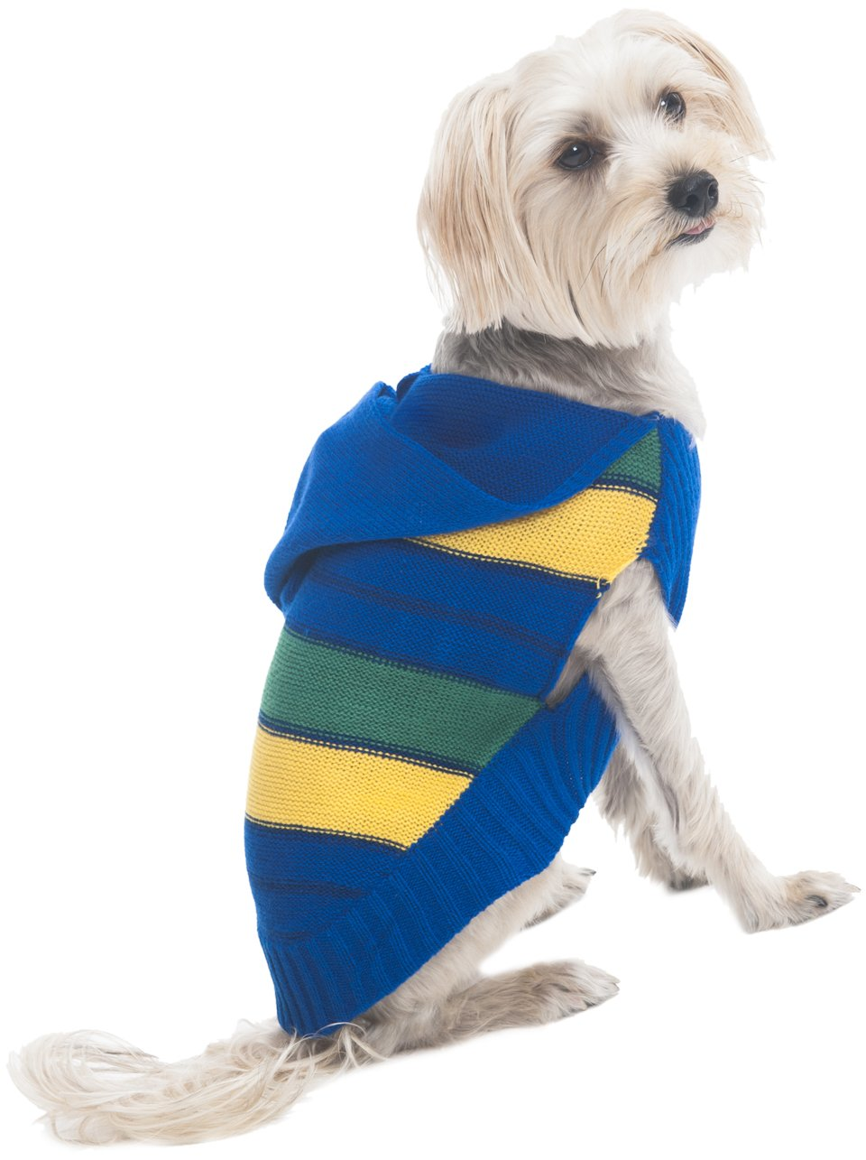 Fashion Pet Hooded Striped Sweater for Pets, X-Small, bluee