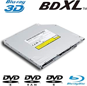 New Super Slim 6X BD-R BD-RE DL TL BDXL 100GB Blu-ray Burner, for Panasonic UJ267 UJ-267, 8X DVD+-R Writer CD-RW Laptop Internal 9.5mm SATA Slot-in Optical Drive