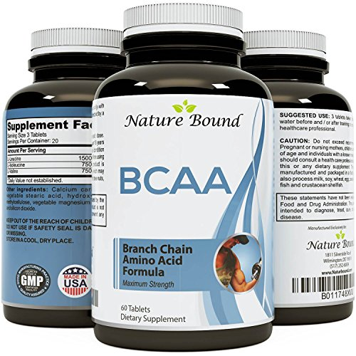 Best BCAA Supplement - Amazing Bodybuilding + Pre Workout Results - Pure Branched Chain Amino Acids - L-Leucine + Food Grade Formula for Men and Women 60 tablets- USA Made by Nature Bound