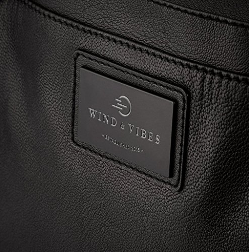 """WIND & VIBES MANHATTAN """"NAVY"""" - Weekender Reisetasche aus Echtleder (Handgepäckmaße). Handgefertigte Design Tasche aus schwarzem Nappa Leder."""