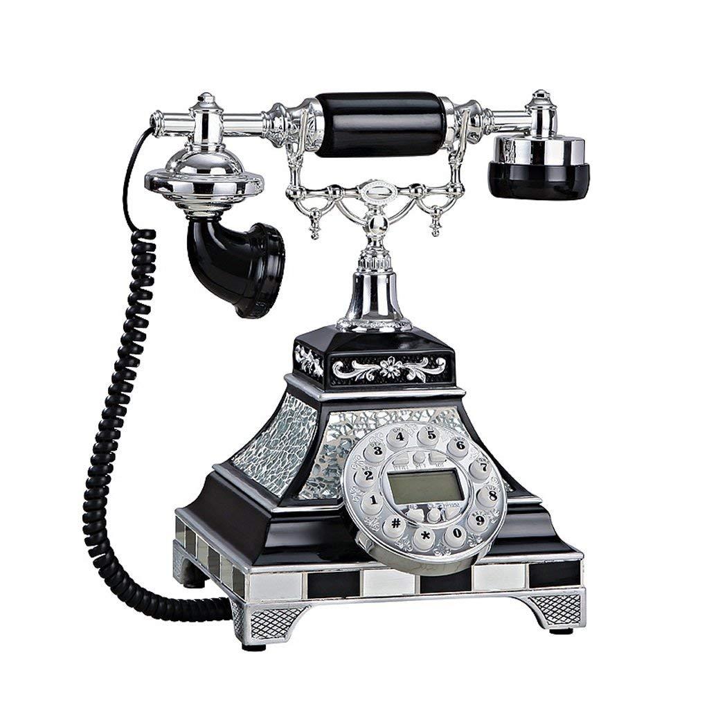 GIOW 現代のファッションホームリビングルームの古い古典的なアンティーク装飾固定電話(発信者番号)サイズ:21×25×28センチメートルA +(色:黒)  Black B07S46TVNT