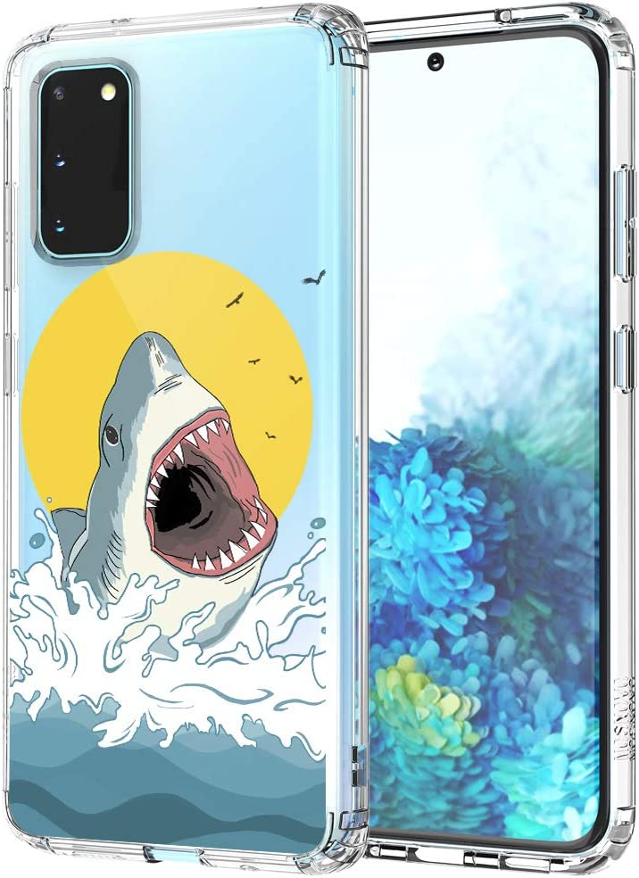 MOSNOVO Galaxy S20 Case, Shark Pattern Clear Design Transparent Plastic Hard Back Case with TPU Bumper Protective Case Cover for Samsung Galaxy S20