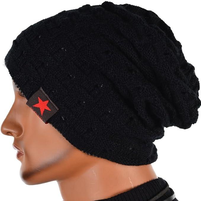 92466fbabd992 Men Reversible Slouchy Beanie Hat Unisex Skull Hat (black) at Amazon ...