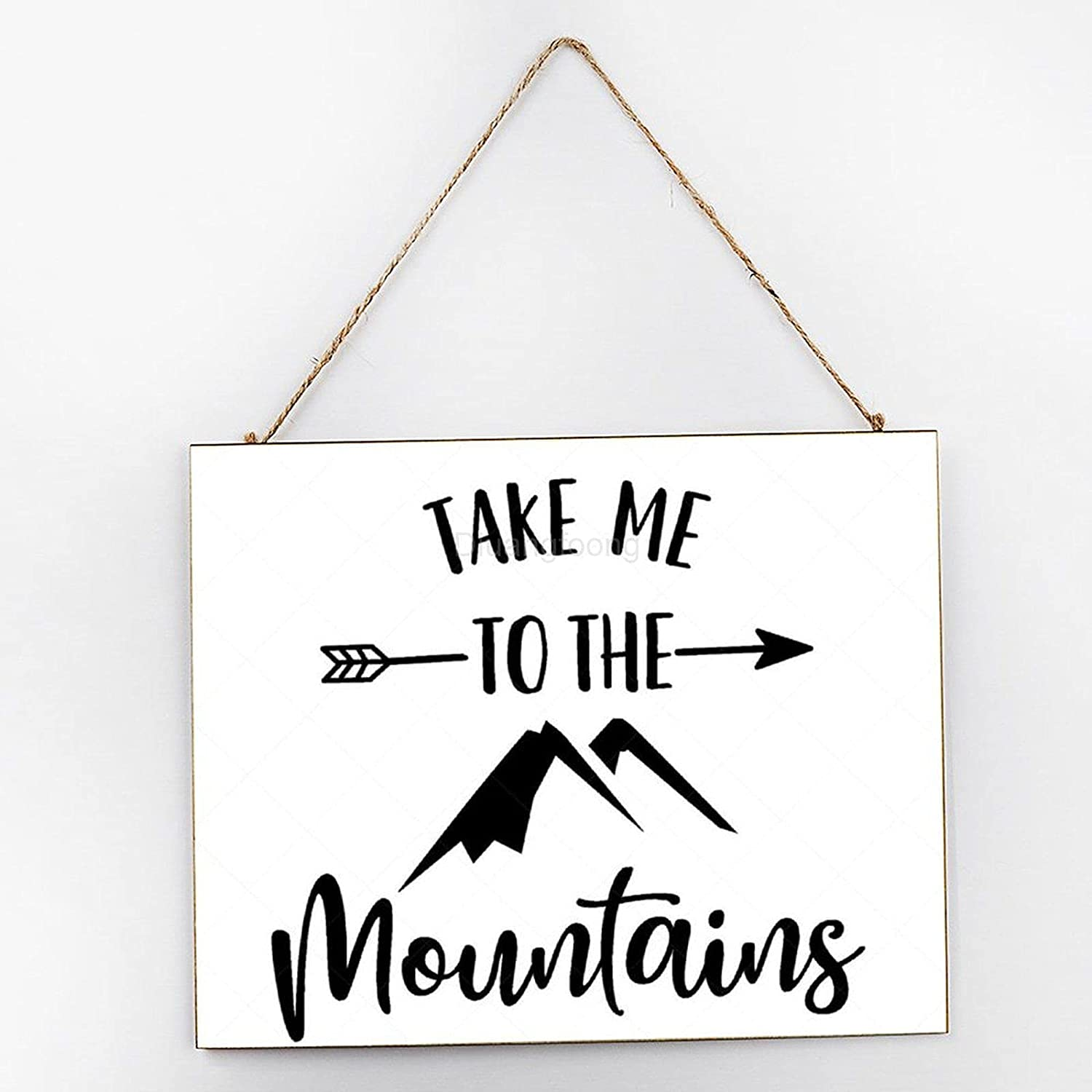 Diuangfoong Take Me to The Mountains Inspirational Wall Art, Rustic Wooden Signs, Wooden Signs for Home Decor Kitchen Living Room Bathroom, Wood Hanger Frame 10x12x0.2 Inch