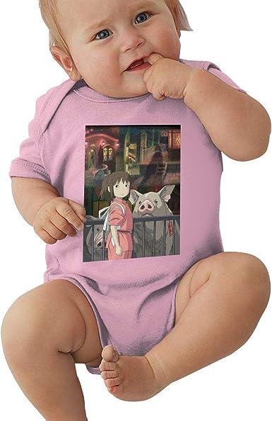 Runxin Baby Boy Girl Crew Neck Short Sleeve Bodysuit Spirited Away Funny Jumpsuit Black