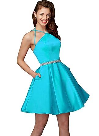 4e253e00349 Zhongde Women s Straps Halter Short Party Dress Beaded Satin Prom Gown with  Pocket Aqua Blue Size