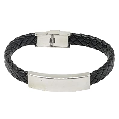 bce48cc7bb2e2 Engraved Personalised Silver Black Leather and Stainless Steel ...