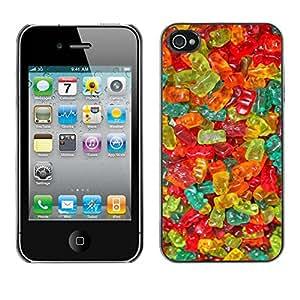 TopCaseStore / la caja del caucho duro de la cubierta de protección de la piel - Candy Sweets Food Colors - Apple iPhone 4 / 4S
