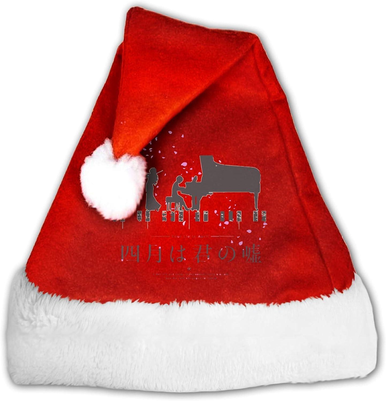 Dongshan Shigatsu Wa Kimi No USO Adultos y Niños Santa Hat Sombrero de Navidad Sombrero de Terciopelo Sombrero de Navidad para Navidad Año Nuevo Fiesta Fiesta Suministros