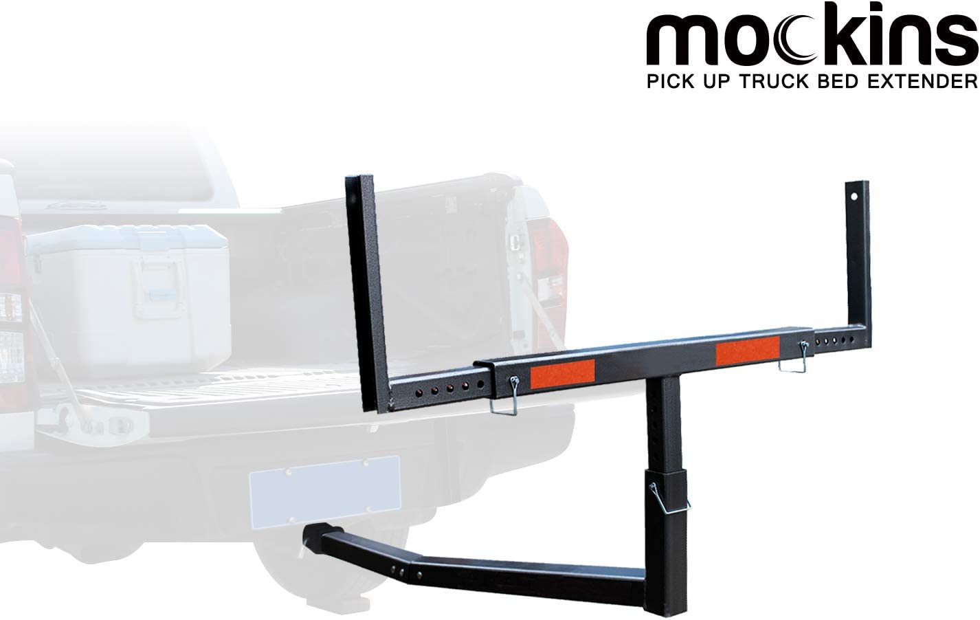 Mockins Heavy Duty Steel Pick Up Truck Bed Extender with Ratchet Straps | The Hitch Mount Truck Bed Extension can be Used for Lumber or a Ladder or a Canoe & Kayak - Black