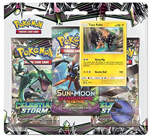 Pokemon TCG: Sun & Moon Celestial Storm - Tapu Koko Blister Pack | 3 Random Booster Packs of 10 Cards Each | Includes Rare Authentic Legendary Alolan Guardian Holofoil Card by Pokemon TCG: Sun & Moon Celestial Storm