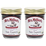 Mrs. Miller's Amish Homemade Seedless Black Raspberry No Granulated Sugar Added Jam 9 Ounces - Pack of 2 (No Corn Sugar)