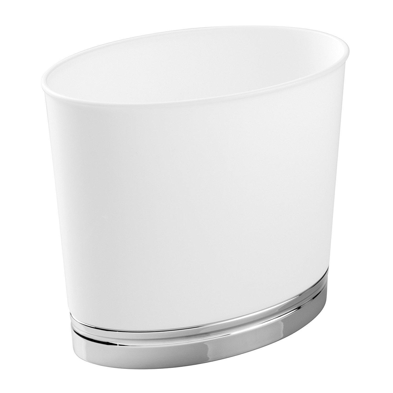 mDesign Cestino Rifiuti Ovale per Bagno, Cucina, Ufficio - Bianco/Cromato MetroDecor 2493MDBA