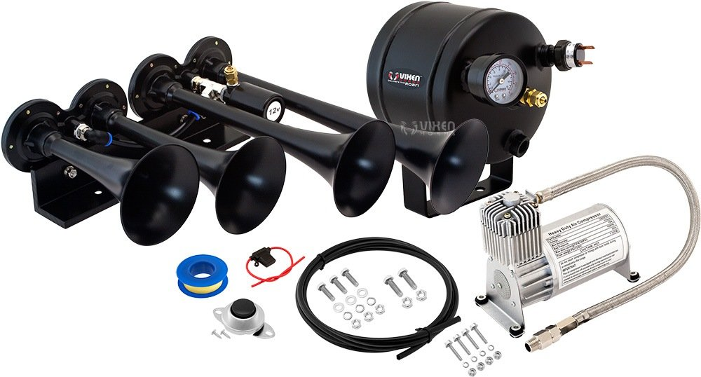 Vixen Horns Loud 149dB 4/Quad Chrome Trumpet Train Air Horn with 0.5 Gallon Tank and 150 PSI Compressor Full/Complete Onboard System/Kit VXO8705/4124C