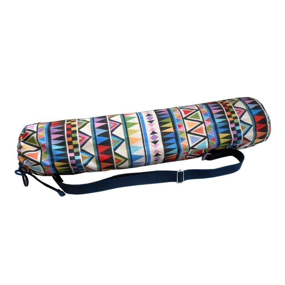 Sac pour tapis de Yoga / Pilates / Gym INDIAN - 73cm de haut x 17cm de diamètre. Pour des tapis standard et grands - avec doublure intérieure pour une protection supplémentaire - Fait à la main