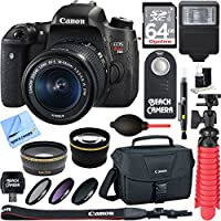 Canon EOS Rebel T6s Digital SLR Camera Wifi + EF-S 18-55mm IS STM Lens Kit + Accessory Bundle 64GB SDXC Memory + DSLR Photo Bag + Wide Angle Lens + 2x Telephoto Lens + Flash + Remote + Tripod & More Overview Review Image