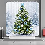 "VANCAR Christmas Shower Curtain Winter Snow Snowflakes Christmas Tree with Ornaments Balls Bow Xmas Merry Christmas Bath Curtain Decorative Waterproof Bathroom Shower Curtain for Christmas Day 66""X72"""