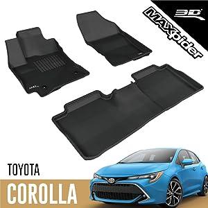 3D MAXpider L1TY13701509 Toyota Corolla 2014-2019 Custom Fit All-Weather Car Floor Mats Liners, Kagu Series (1st & 2nd Row, Black)