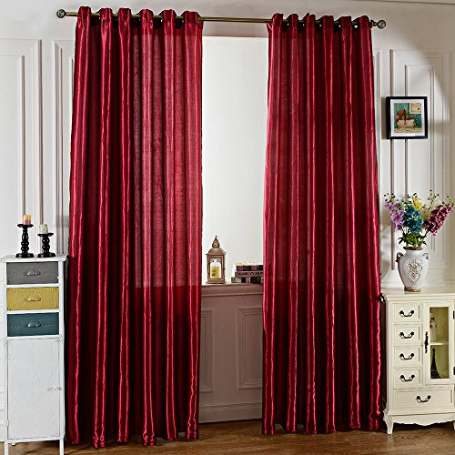 BISOZER 100 x 250CM Pure Color Drapes Grommet Ring Top Blackout Window Curtain Fashion Mix Curtains Set for Bedroom Living Room Home Hotel Office (Wine Red) ()