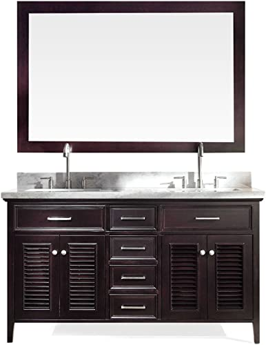 ARIEL D061D-ESP Kensington 61 Double Sink Bathroom Vanity Set in Espresso With Carrara Marble Countertop