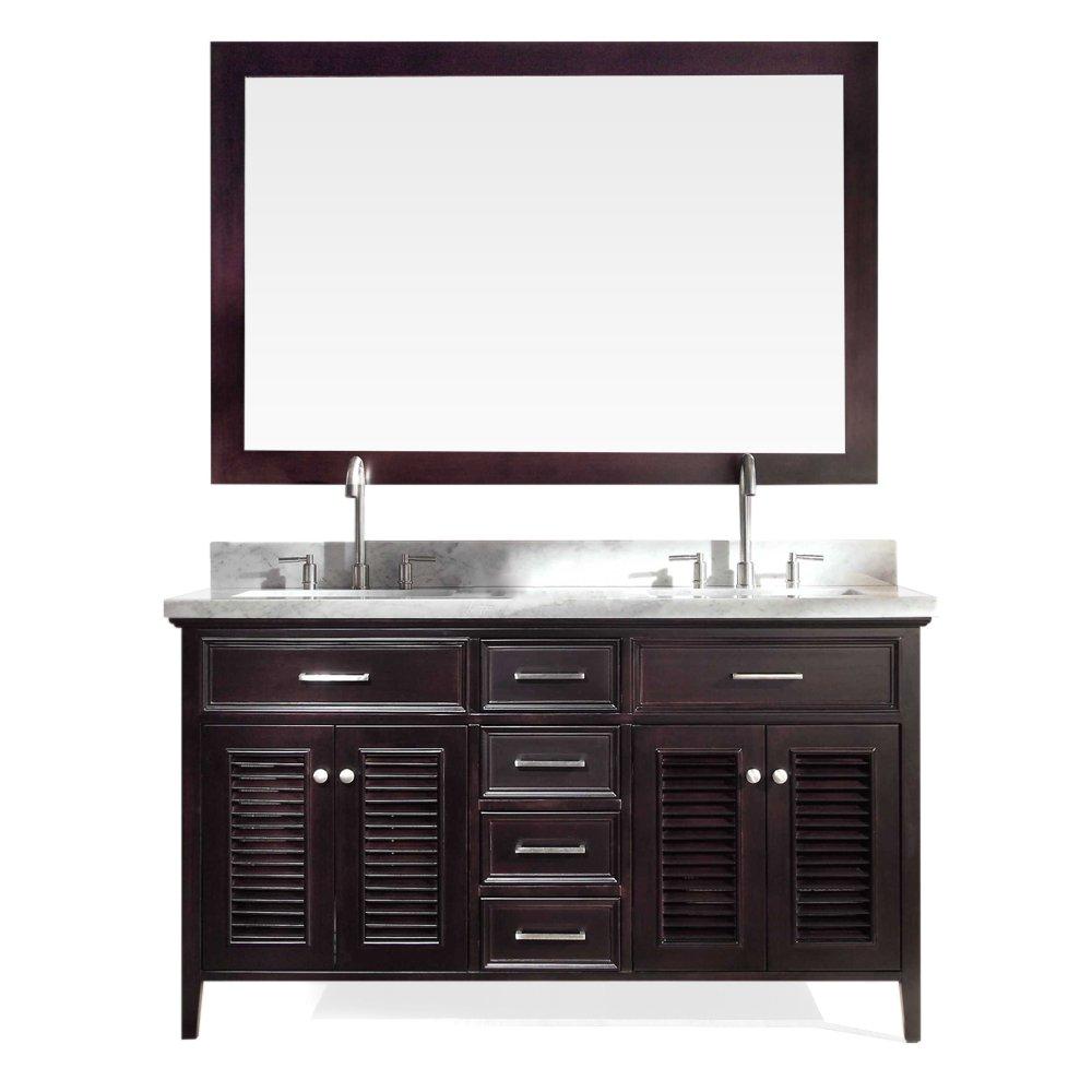 ARIEL D061D-ESP Kensington 61 Double Sink Bathroom Vanity Set in Espresso With Carrara Marble Countertop