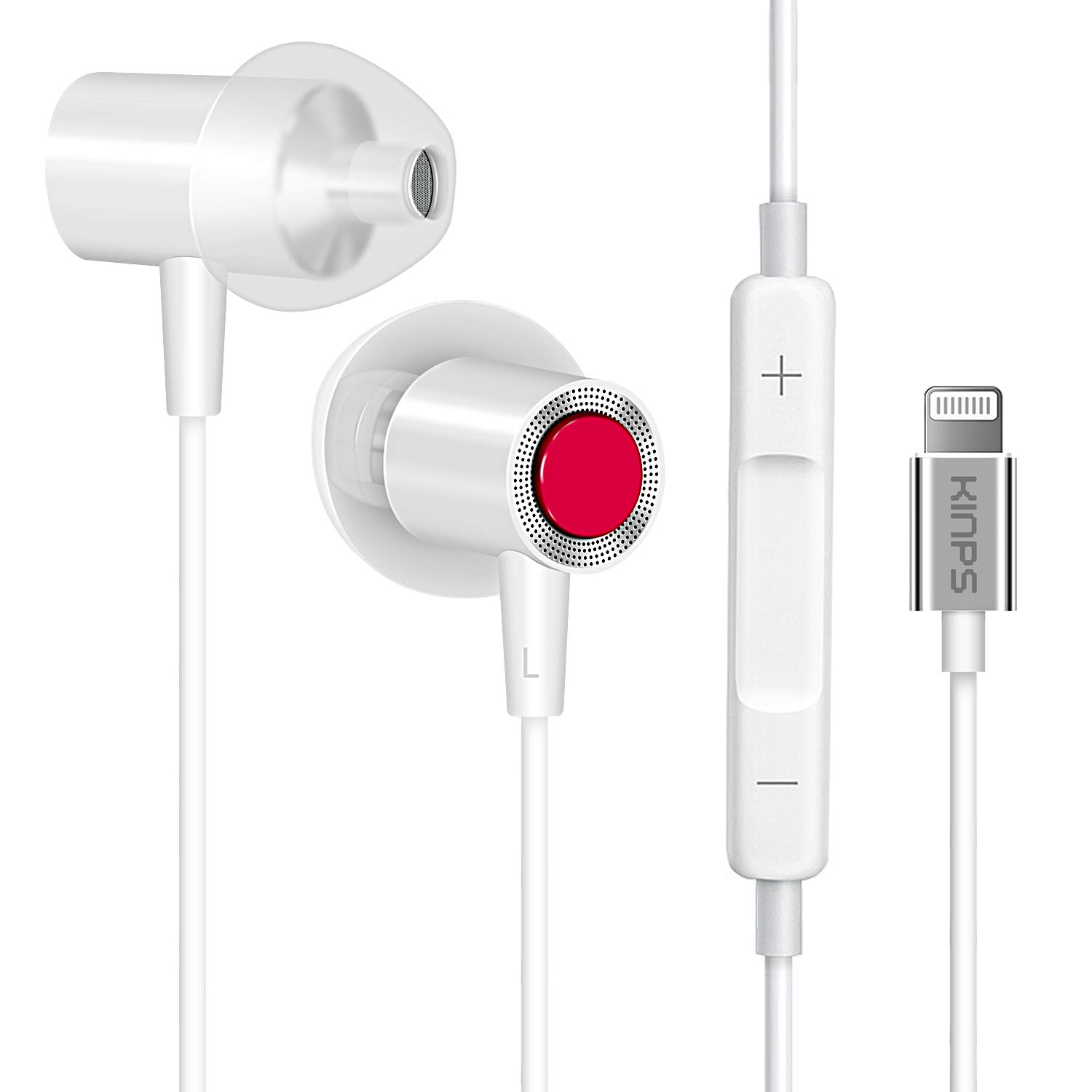 KINPS Apple MFI Certified Earphones Earbuds with Lightning Connector, EarPods with Microphone and Remote Control Compatible with iPhone 11 Pro 11 X XS Xs Max XR 8 7 and so on White