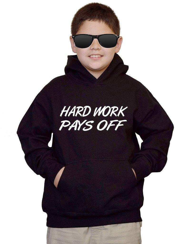 Youth Hard Work Pays Off V438 Black kids Sweatshirt Hoodie XLarge