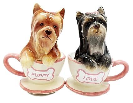Yorkshire Terriers Cute Teacup Yorkie Puppy Love Ceramic Salt Pepper Shakers