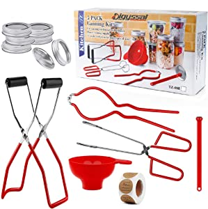 Digyssal Canning Kit Canning Supplies Canning Funnel, Jar Lifter, Jar Wrench, Lid Lifter, Canning Tongs, Bubble Popper/Bubble Measurer/Bubble Remover Tool for Canning Jars Mason Jars Canning Pot
