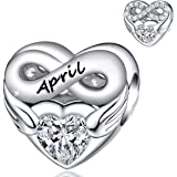 FOREVER QUEEN Birthstone Charms for Charms Bracelet- 925 Sterling Silver Love Heart Beads Infinite Love Charms, Happy…
