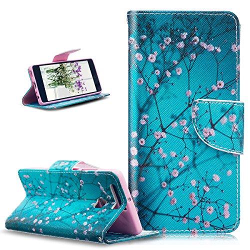 Funda para Huawei P9, Huawei P9Cover, ikasus oso mariposa flores Series–Funda de piel sintética plegable tipo cartera funda de piel con tapa con soporte Soportes de ID de tarjeta de crédito funda p Blue Plum Blossom