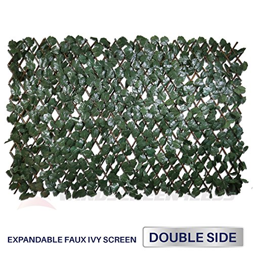 (Windscreen4less Artificial Leaf Faux Ivy Expandable/Stretchable Privacy Fence Screen (Double Sided Leaves)Double Sides Leaves)