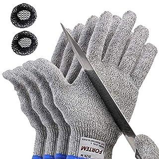 Fortem Cut Resistant Gloves, 2 Pairs (4 Gloves), Level 5 Protection, Food Grade, EN388 Certified (Medium)