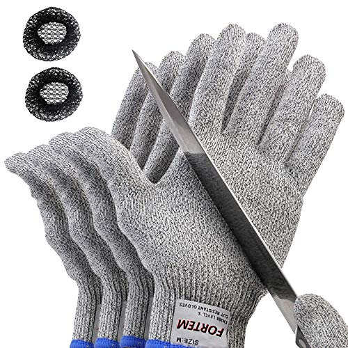 Cut Resistant Gloves By FORTEM | 4 Gloves | Level 5 Protection | Food Grade |...