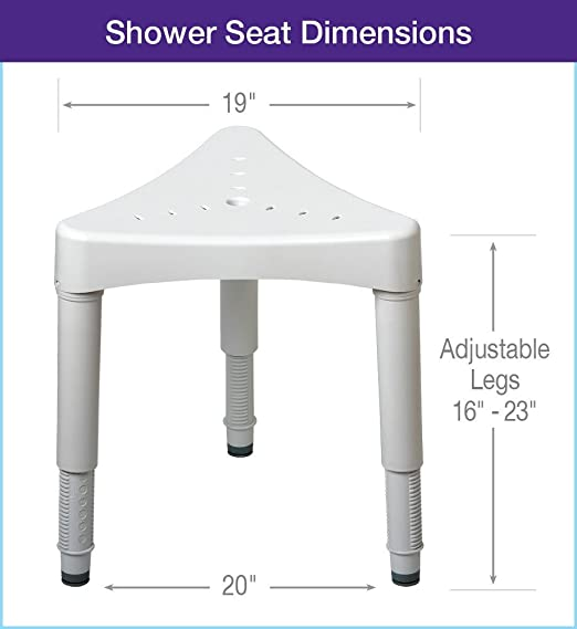Amazon.com: Ableware Adjustable Corner Shower Seat, White (727160000):  Industrial U0026 Scientific
