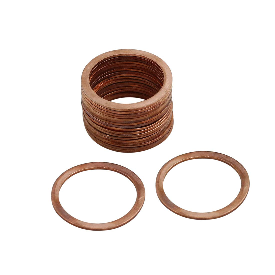 X AUTOHAUX 20pcs 24mm Inner Diameter Copper Washers Flat Sealing Gaskets Rings by X AUTOHAUX (Image #1)