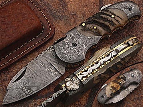 Custom made damascus blade bolsters ram horn handle,with genuine leather sheath 5060-RD