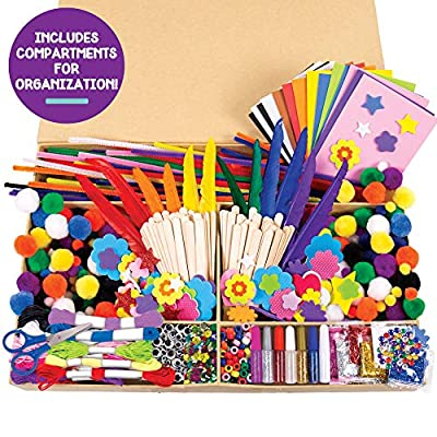 Horizon Group USA 1000+ Pieces Ultimate Box OF Crafts, Includes Foam Sheets,Stickers,Feathers,Glitter Glue, Pipe Cleaners,Wood Sticks,Pom Poms,Gemstones,Friendship Thread,Beads,Sequins,Scissors & More: Toys & Games